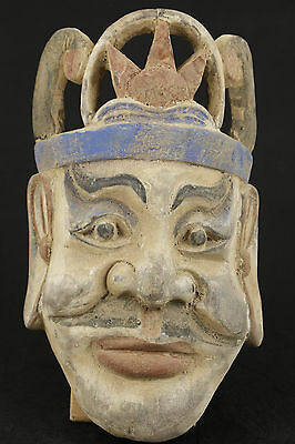Nice Chinese Old Wood Collectable Handwork Carved Buddha Mask Statue