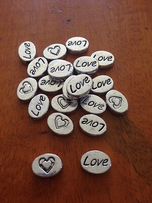 Antique Silver LOVE Spacer Beads x 15