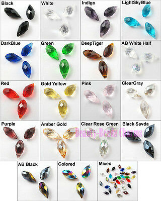 30Pcs Drip Drop Faceted Glass Crystal Rondelle Beads Charms Pendants 6x12mm