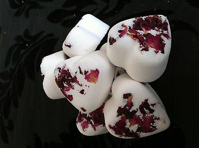 10 Wedding Favour Rose Heart Bath Bombs With Rose petals
