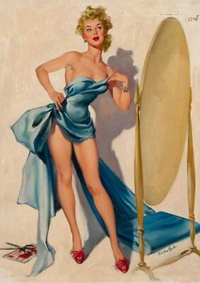 Joyce Ballantyne Blonde Pinup in Blue Dress Vintage Art Print - A4 A3 A2 A1
