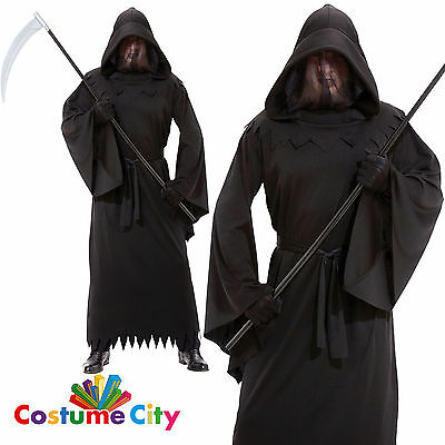 Mens Phantom of Darkness Grim Reaper Death Robe Halloween Fancy Dress Costume
