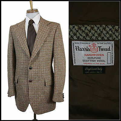 Vintage Harris Tweed Sports Blazer Country Suit Dogtooth Classic Medium 40