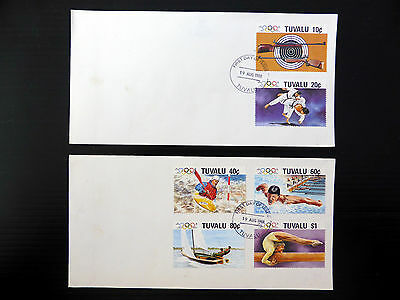 TUVALU 1988 Olympic Games (6) on 2 FDC's Very Few Exist NEW LOWER PRICE FP1816