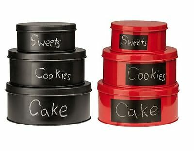 Clifton Set Of 3 Storage Tins Cookies Cake Storage Boxes Black Two Chalkboards