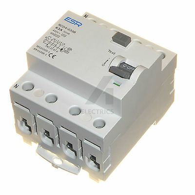 30mA 4 pole RCD trip safety switch 3 phase Choose 63 or 80 Amp TP&N 63A 80A 400V