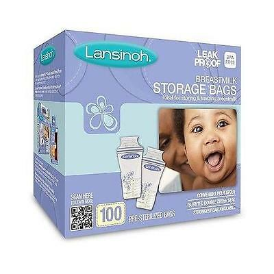 Lansinoh Breastmilk Storage Bags - Leak Proof - 100 Count Pre-Sterilized Bags