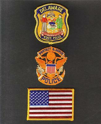DELAWARE State POLICE USA FLAG Sew On Iron On NOVELTY PATCH SET 3 Pcs New