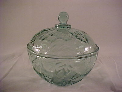 Indiana Glass Georgia Green Madeira Confections w/ Lid