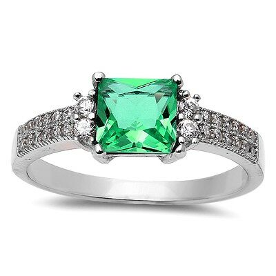 Radiant Cut Emerald & Cz .925 Sterling Silver Ring Size 4-9
