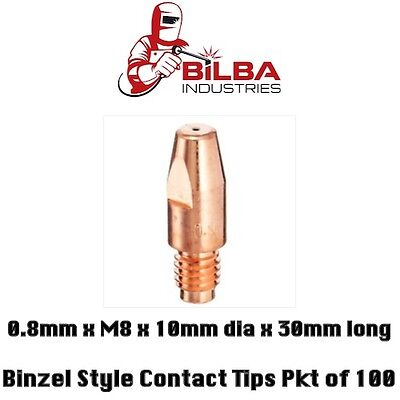 Binzel Style Mig Welding Contact Tips 0.8mm x M8 x 10mm dia 30mm long Pkt of 100