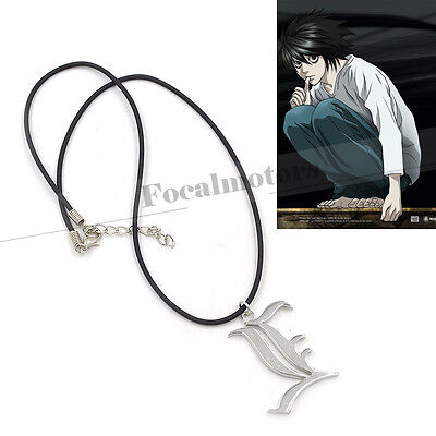 Death Note Letter L Necklace Lawliet Kira Charm Cosplay Metal Silver New 1PC
