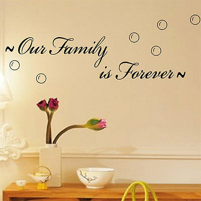 New 0ur Family Is Forever Quote Wall Sticker Home Room Art Decor DIY Vinyl