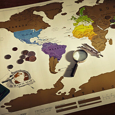 New Travel Cool Vacation Log Gift Scratch Off World Map Creative Poster Present