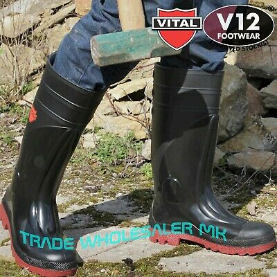 Wellington Boots Safety Farmers Size 15 Steel Toe Cap Rubber