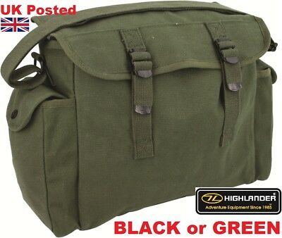Large Canvas Haversack +Pockets Messenger Bag Military Sas Army Webbing Satchel