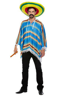 Mens Mexican Poncho Adult Western Bandit Fancy Dress Party Hawaiian Beach Stag