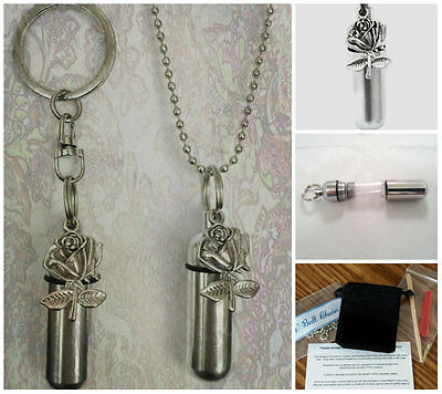 Silver Rose  2pc.Special Set - Anointing Oil Holder Necklace & Keychain w/Pouch