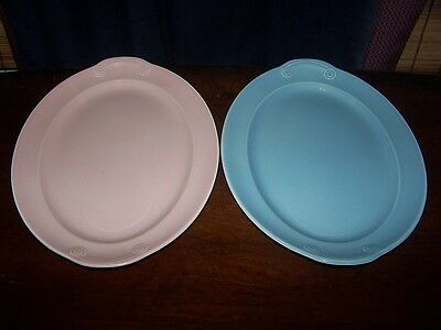 """LURAY PASTELS PINK BLUE TAYLOR SMITH LUGGED 13"""" OVAL SERVING PLATTER LOT OF 2"""