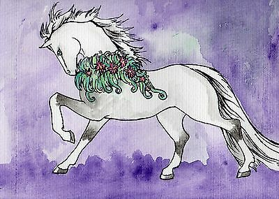 Flower horse painting FREE POST original art A5 pony gift idea unique easy