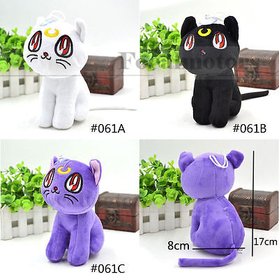 Sailor Moon Plush Doll Cute Cat Toy Anime White Black Purple  Free Shipping 1PC