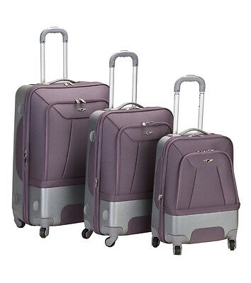 Rockland Rome 3 Piece Hybrid EVA/ABS Spinner Luggage Set Lavender