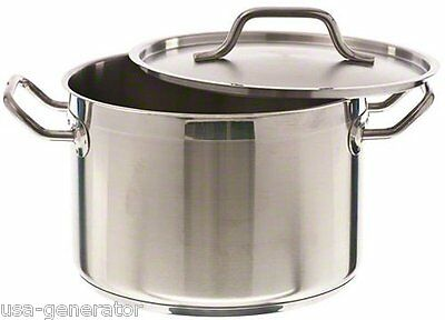 Induction 8 Quart Qt Stockpot Stainless Steel Commercial Grade NSF Cookware NEW