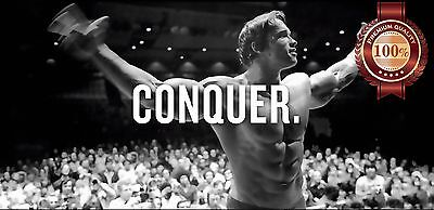 New Conquer Arnold Bodybuilder Mr Olympia Sport Wall Quote Print Premium Poster