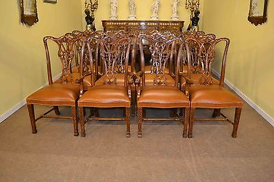 Elegant Set of 12 Beautiful Chippendale Dining Chairs