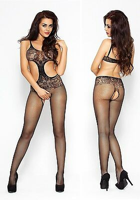 Bodystocking BS004 Passion Catsuit Overall Bodysuit Straps Dessous ouvert offen