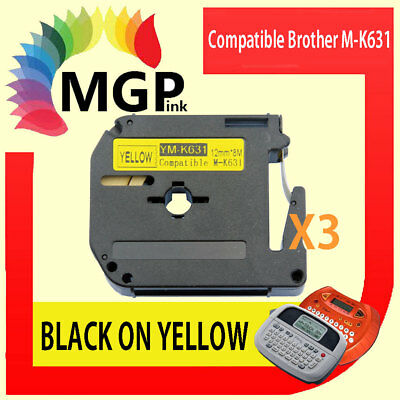 3x Compatible P-Touch Thermal Tape for Brother M-K631 Black on Yellow 12mm x 8m