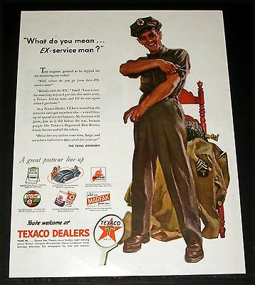 1945 Old Wwii Magazine Print Ad, Texaco Dealers, What, Not Ex-Service Man, Art!