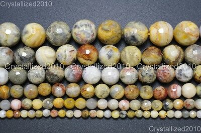 """Natural Crazy Lace Agate Gemstone Faceted Round Beads 4mm 6mm 8mm 10mm 15.5"""""""