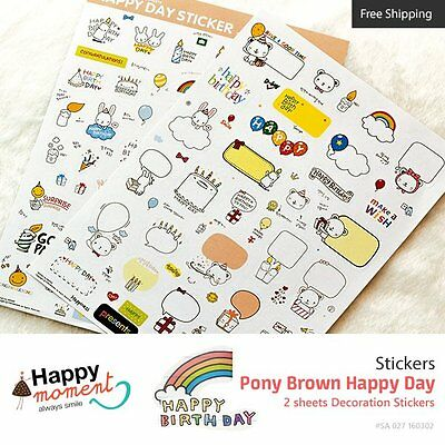 Pony Brown Happy Day Sticker Gift Diary Wrapping Cute Decor Anniversary Birthday