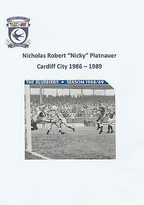 Nicky Platnauer Cardiff City 1986-1989 Original Hand Signed Picture Cutting