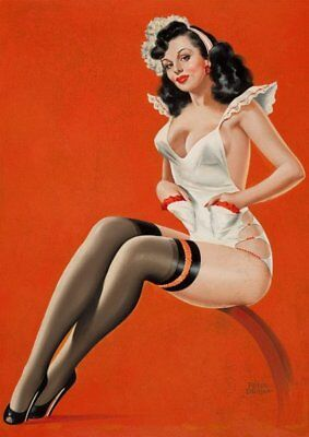 Peter Driben Black Haired Pinup Maid Vintage Art Print - A4 A3 A2 A1