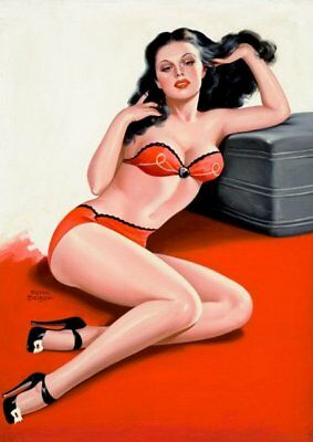 Peter Driben Black Haired Pinup in Red Underwear Vintage Art Print - A4 A3 A2 A1
