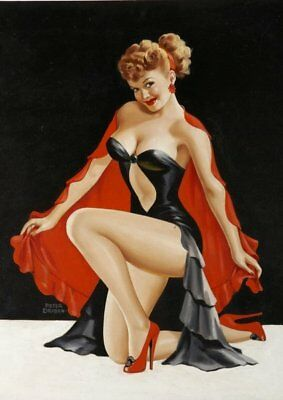 Peter Driben Brunette Pinup in Red Cape Vintage Art Print - A4 A3 A2 A1