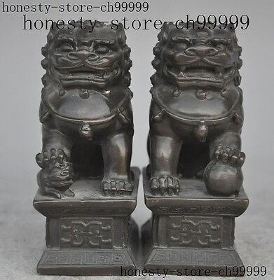 chinese fengshui bronze Evil spirits animal foo dog lion beast lucky statue pair