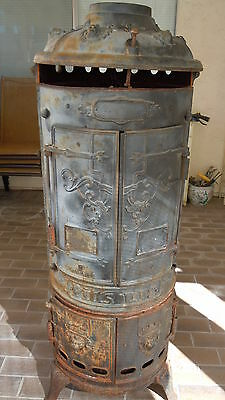 Antique PITTSBURG RARE Cast Iron Water heater shell,Stove?,LION-HEADS 4 DOOR,#s