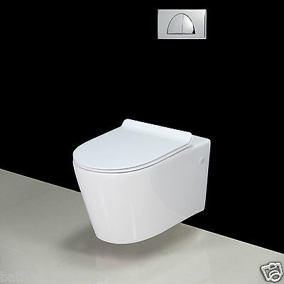 Toilet WC Bathroom Wall Hung Mounted Square Ceramic Soft Closing Seat BTP-W4