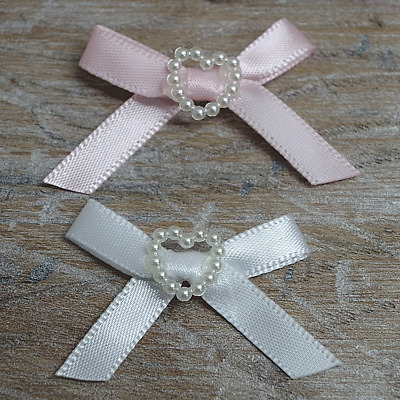 Satin Ribbon Bows with Heart 30mm Baby Small, Pink Blue Lemon White Ivory 10