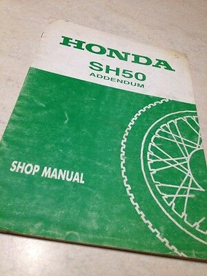 Supplément Manuel atelier Honda SH50 SH 50 Scooter shop manual