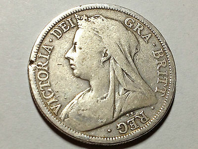 Great Britain 1900 Sterling Silver Half Crown Nice Collector Coin