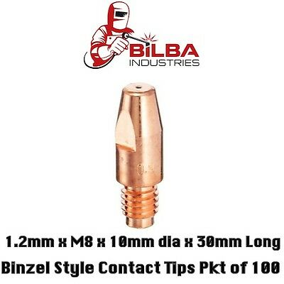 Binzel Style Mig Welding Contact Tips 1.2mm x M8 x 10mm dia 30mm long Pkt of 100