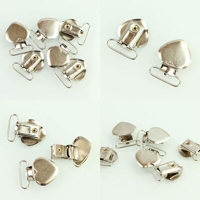 20 Pcs Suspender Metal Holder 39*30mm Insert Pacifier Heart Type Clips Craft Sew