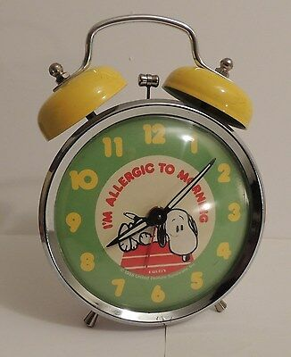 """Vintage Equity SNOOPY Peanuts """"I'm Allergic To Morning"""" Alarm Clock Double Bell"""