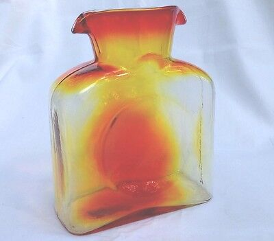 MCM Blenko Tangerine Dbl. Spout Husted Water Pitcher Excellent Vtg Condition