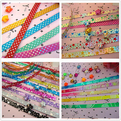 90 ORIGAMI LUCKY STAR LASER PAPER  - 5 colors comb with randomly patterns