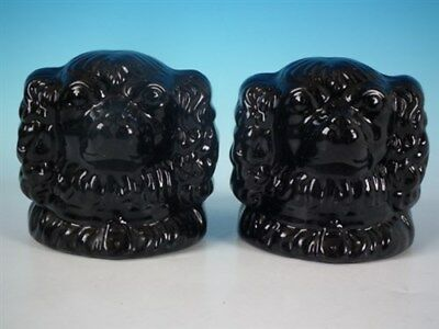 Pair Staffordshire Jackfield spaniel head window stops